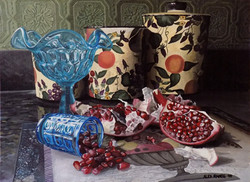 Pomegranate with Blue Glass and Yellow Canisters