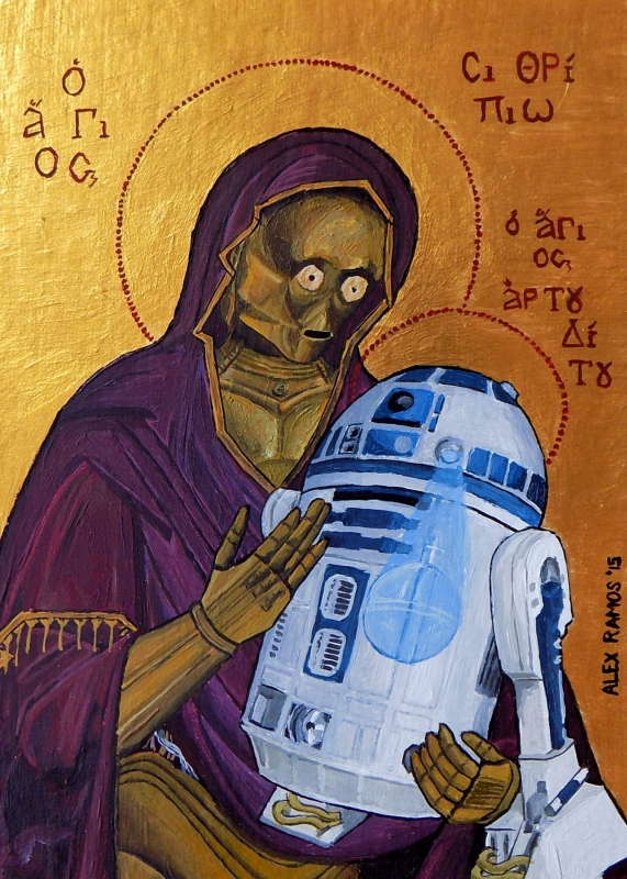 C-3PO and R2-D2, Madonna and Child