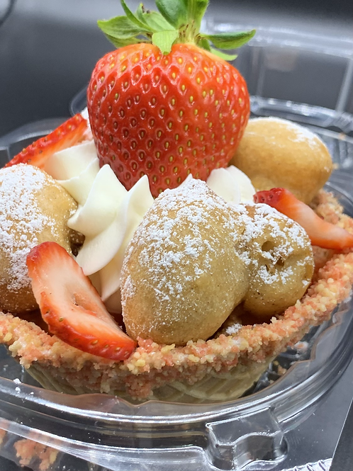 Strawberry Cheesecake Waffle Bowl or Cookie Butter