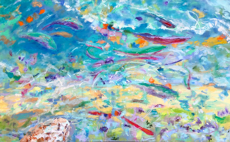 Under the Surface 30 x 48.jpg.  The flow of life in vibrant color