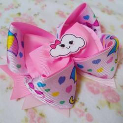 Laço de Cabelo Infantil Rosa com Nuven