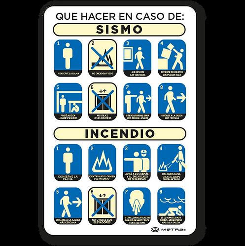 Qué hacer en caso de Sismo / Incendio (30 x 45 cm.)