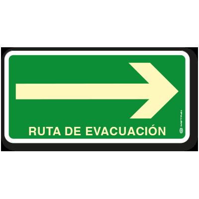 Ruta de Evacuación Derecha 20 x 40 cm.