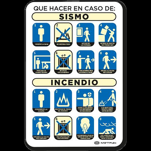 Qué hacer en caso de Sismo / Incendio (20 x 30 cm.)
