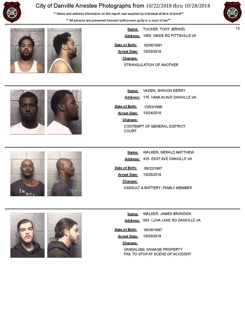2018 Arrests in Danville