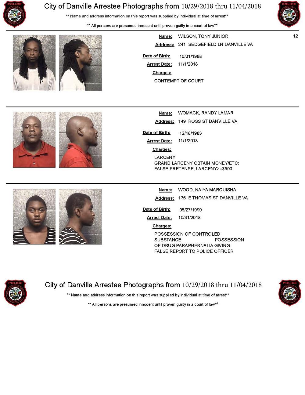 martinsville arrests photos