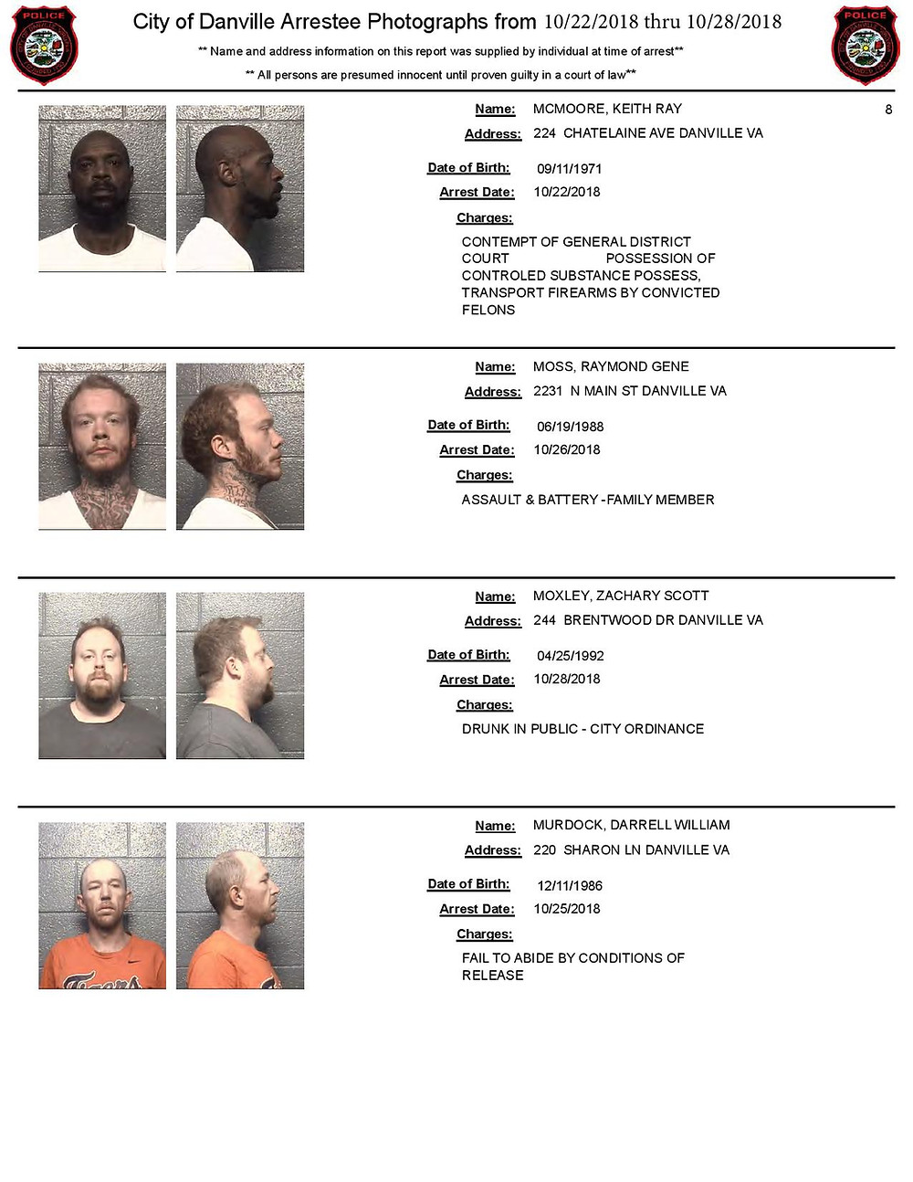 Arrest Photos in Danville VA