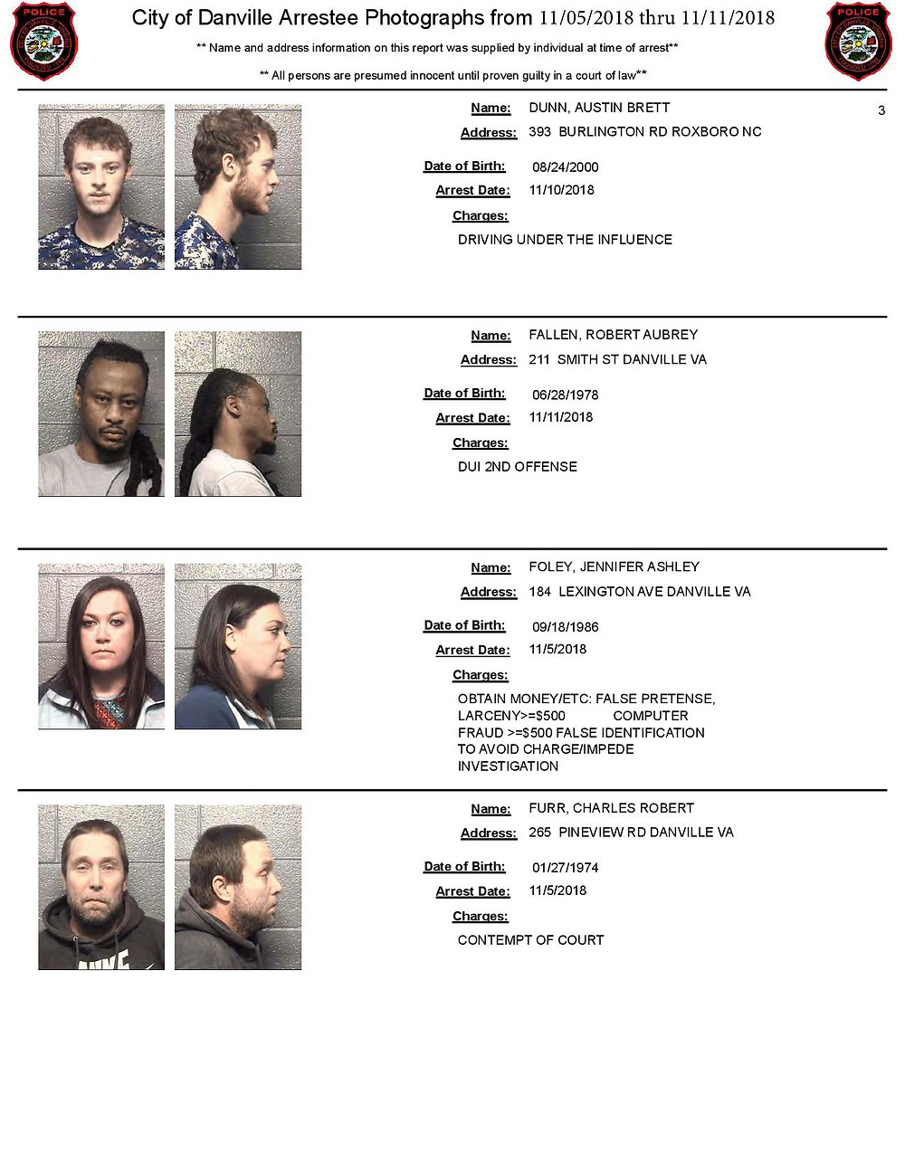 Danville Arrests & Mugshots November 2018