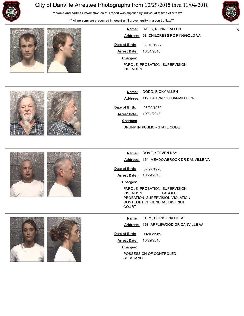 Chatham arrest photos