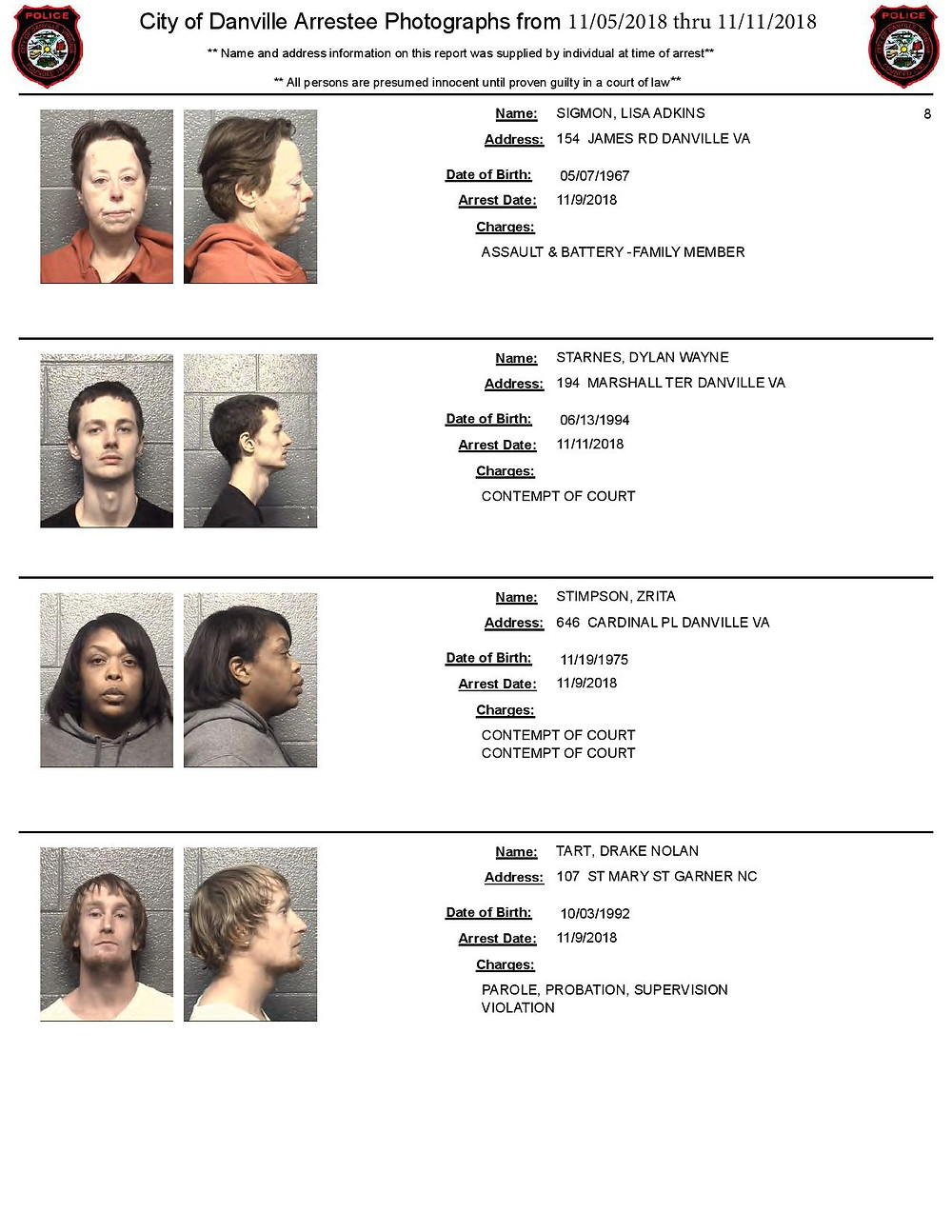 Mugshots from Danville by Apex Bail Bonds