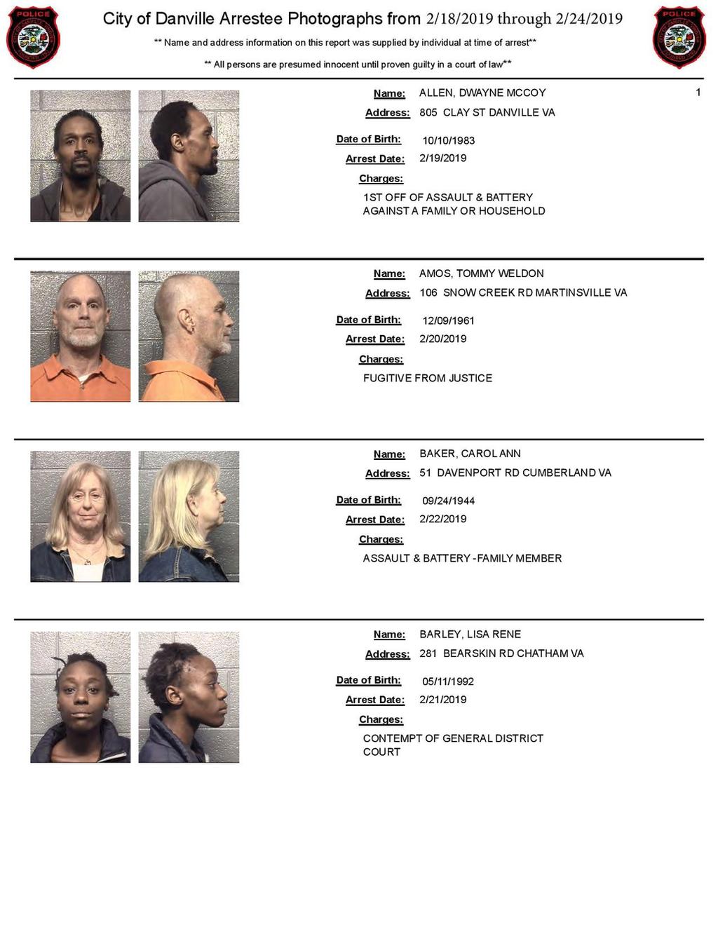 Danville Arrests / Mugshots **Feb  2019**