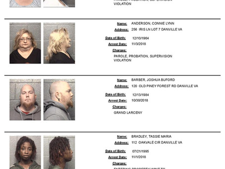 Danville MUGSHOTS: All Arrests from 10/29 through 11/4/18 (12 Pages!)