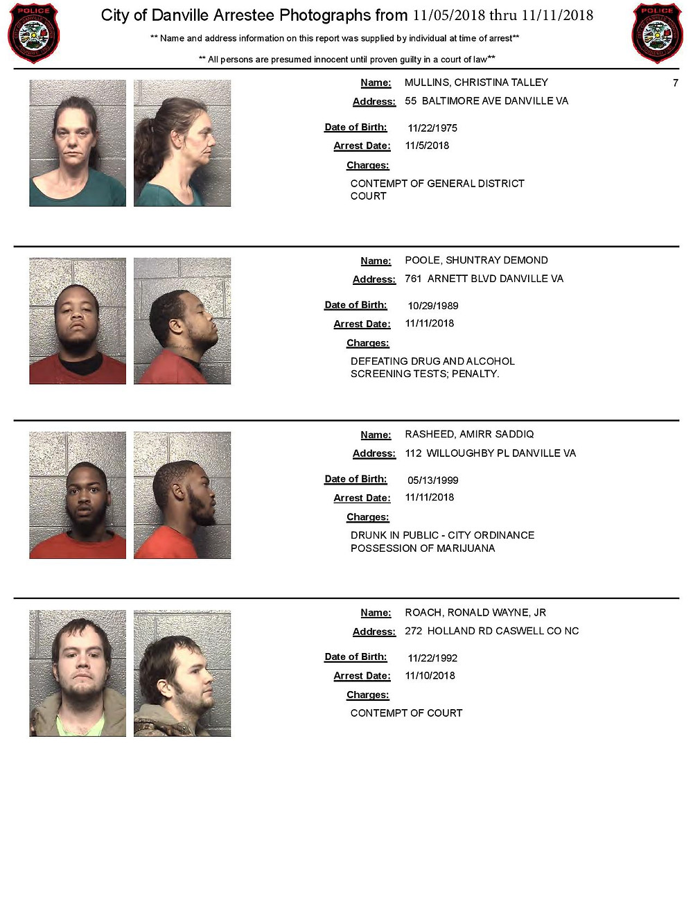 Danville VA Mugshots near Apex Bail Bonds