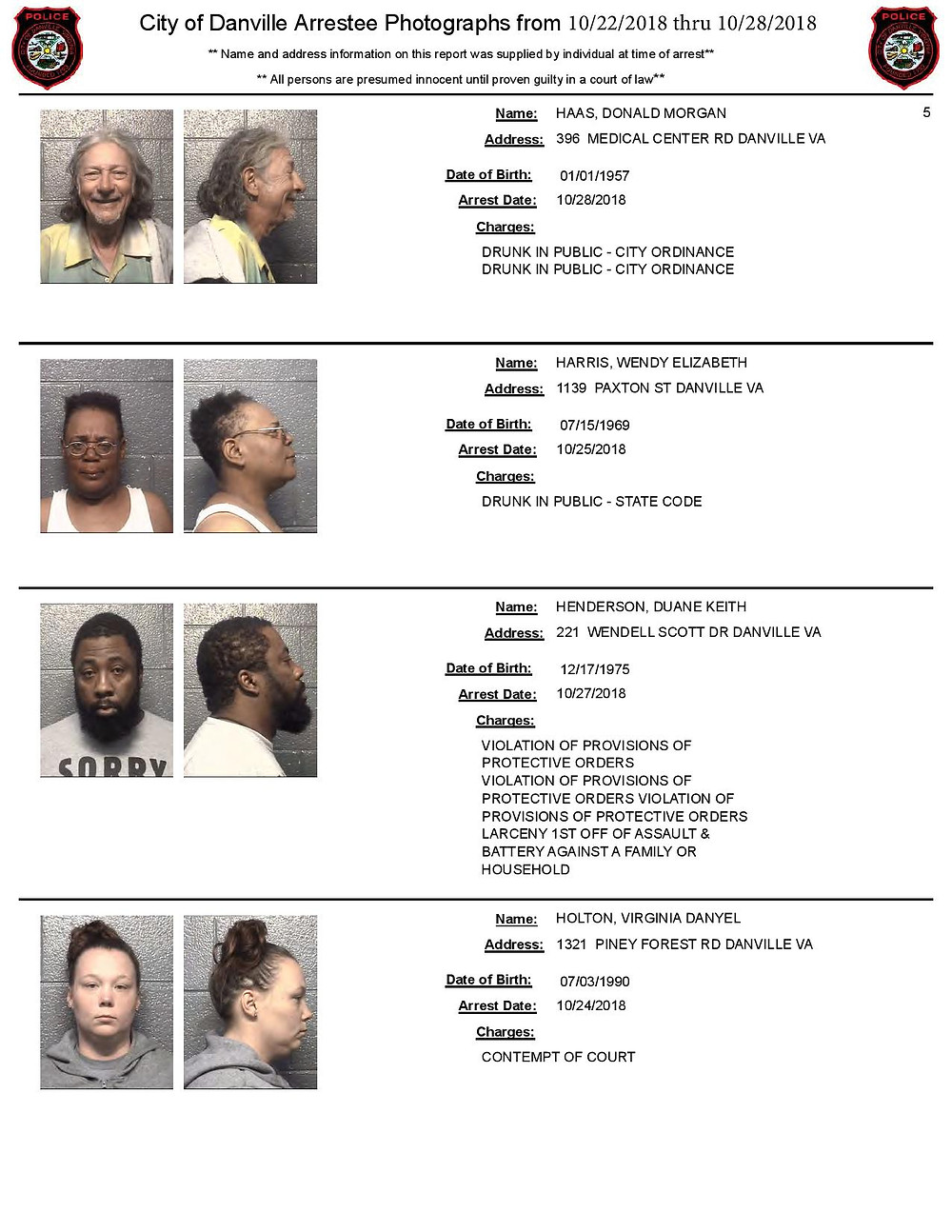 Danville Arrest Photos