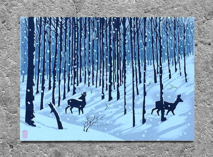 Winterkarte «zwei Rehe»