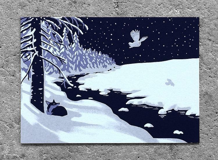 Winterkarte «über den Fluss»