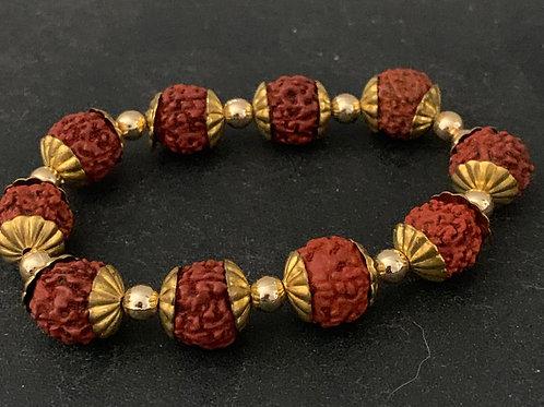 RUDRAKSHA Bracelet w/Golden Caps