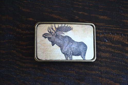 Moose Vintage Style Belt Buckle Brass