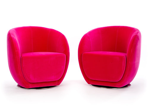 Pair of Mid-Century Style Fuschia Club Chairs