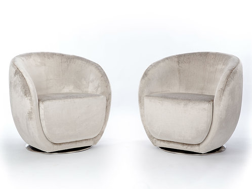 Pair of Mid-Century Style Silver Club Chairs