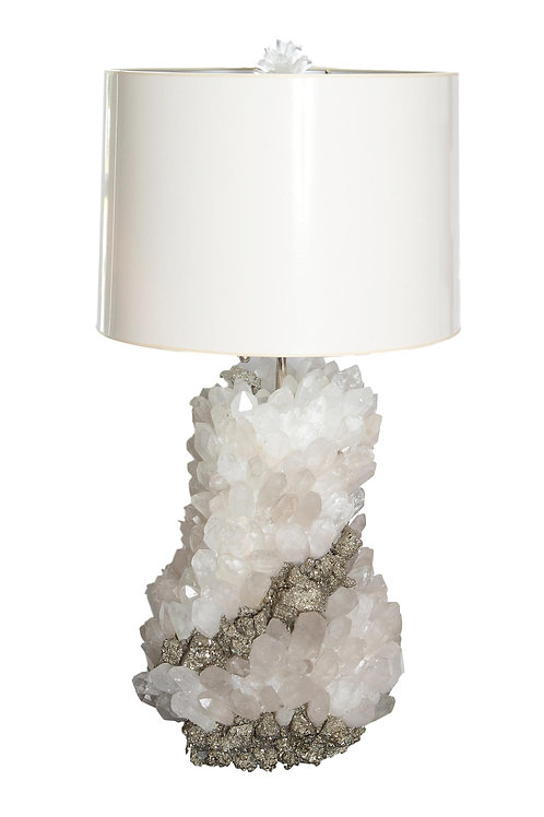 Contemporary Quartz Crystal and Pyrite Table Lamp