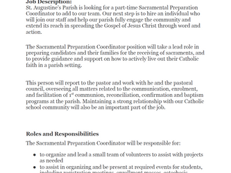 Part-time Sacramental Preparation Co-ordinator Position