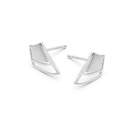 Silver Petal Single Bud Stud Earrings