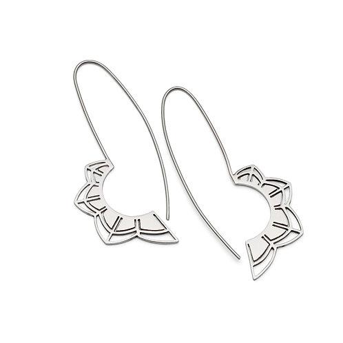 Petals Silver Long Earrings