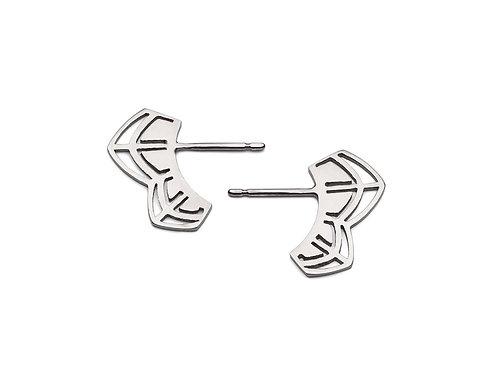 Silver Petal Double Bud Stud Earrings