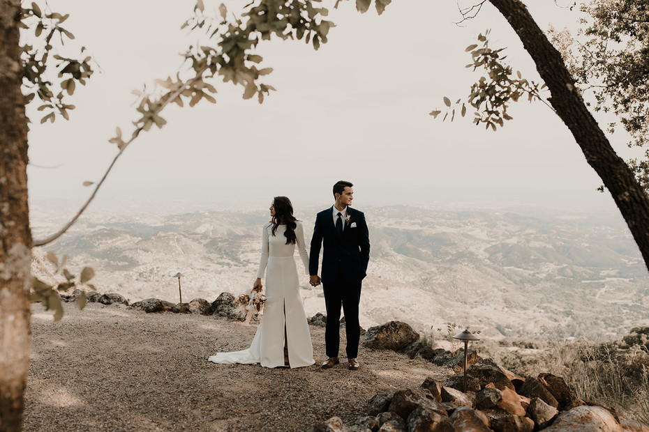 Bridal couple on terrace