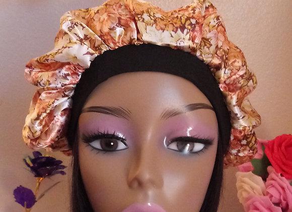 Golden Floral satin bonnet