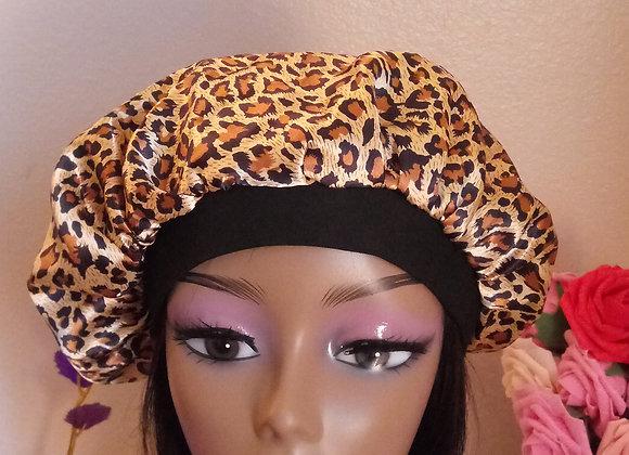 cheetah satin bonnet