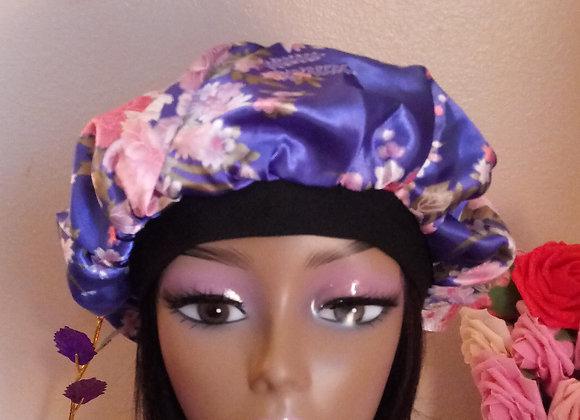 blue floral satin bonnet