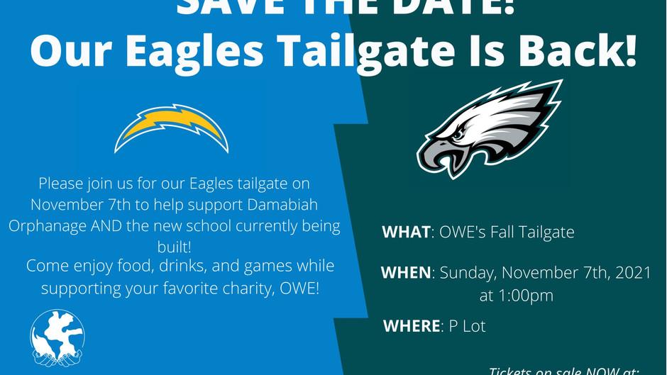 Eagles Tailgate happening November 7th, 2021!
