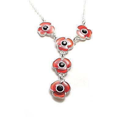 Enamel Poppy Necklace