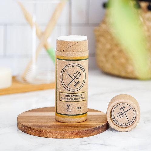 Lime & Vanilla Natural Deodorant - 50g Paper Tube