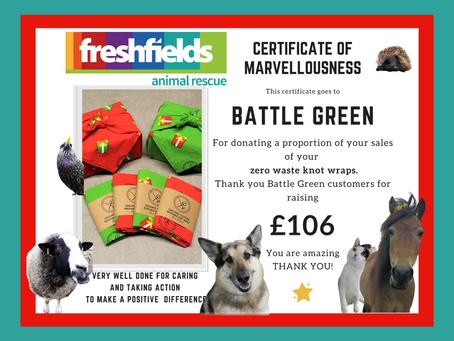 Thank You! £106 Raised for Freshfields Animal Rescue