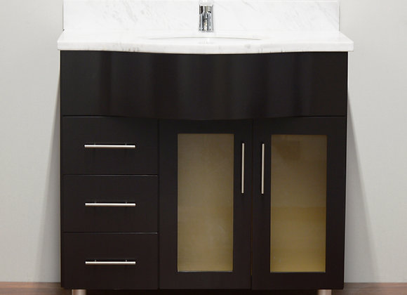 36″ Solid Wood Vanity with Glass Countertop – TC – 3602