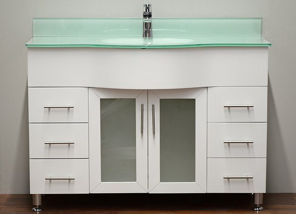 48″ Solid Wood Vanity with Glass Countertop – TC – 4802