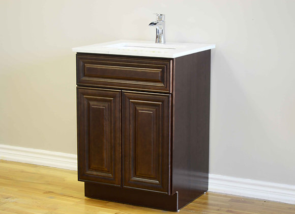 "24"" Solid Wood Vanity With Quartz Countertop – TC – DC24"