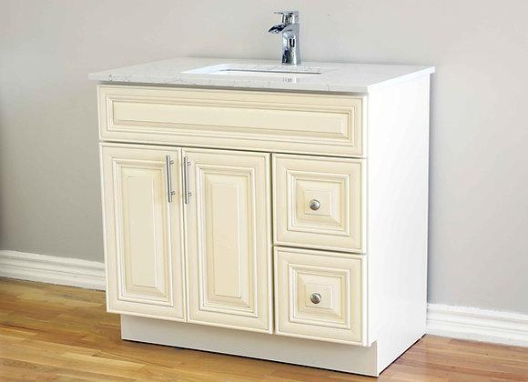 36″ Solid Wood Vanity with Quartz Countertop – TC – IC36