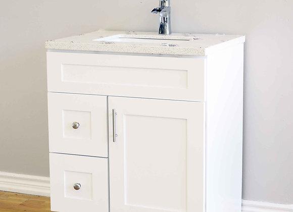 30″ Solid Wood Vanity with Quartz Countertop – TC – WS30
