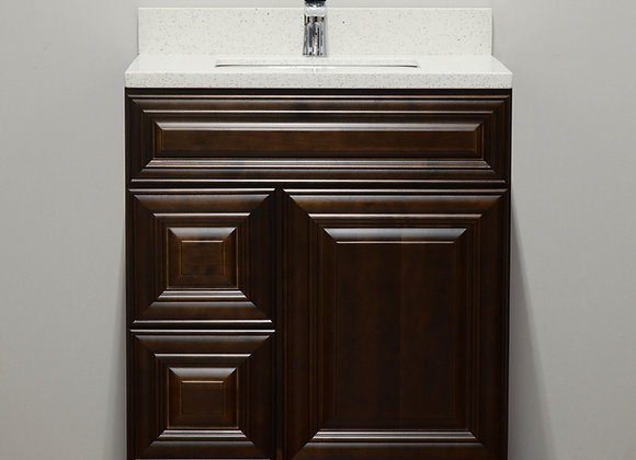 30″ Solid Wood Vanity with Quartz Countertop – TC – DC30