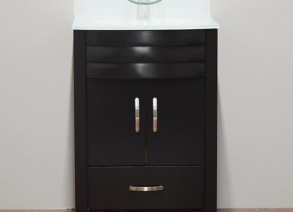 24″ Modern Bathroom Vanity with Glass Countertop – TC2400E
