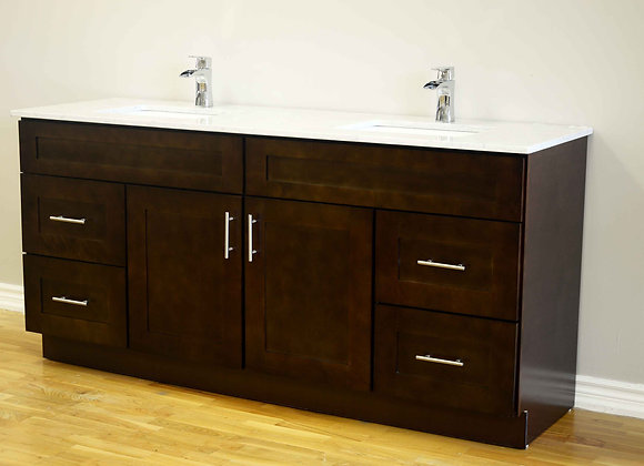 "72"" Solid Wood Vanity With Quartz Countertop – TC – DS72"