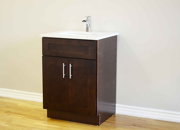 24″ Solid Wood Vanity with Quartz Countertop – TC – DS24