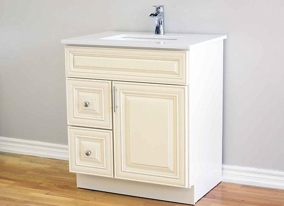 30″ Solid Wood Vanity with Quartz Countertop – TC – IC30