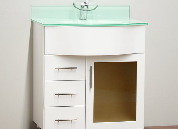 30″ Solid Wood Vanity with Glass Countertop – TC – 3003