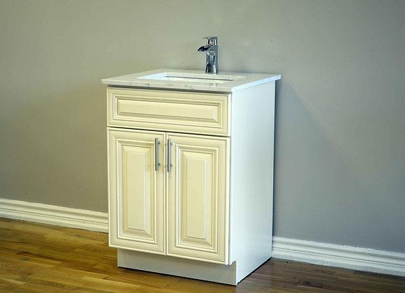 24″ Solid Wood Vanity with Quartz Countertop – TC – IC24