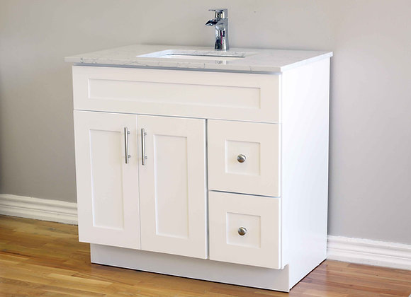36″ Solid Wood Vanity with Quartz Countertop – TC – WS36